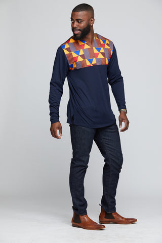 BOMANI MEN'S AFRICAN PRINT LONG SLEEVE V-NECK TEE (NAVY/ GOLD RED KENTE)