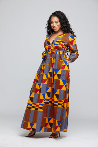BAHATI AFRICAN PRINT PUFF SLEEVE MAXI DRESS (GOLD RED KENTE)