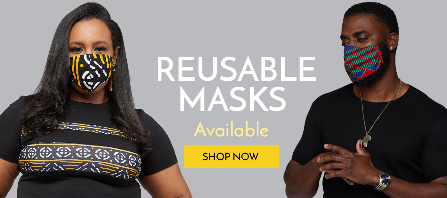 african print reusable face mask with filter