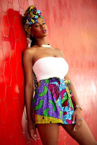 Makena Multicolor African Print Shorts