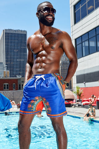 Dele Men's African Print Swim Trunk (Blue Orange Dashiki)