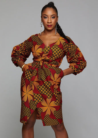 african print pleated sleeve wrap dress magenta yellow