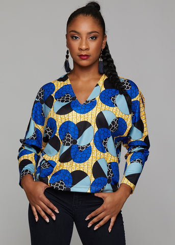 adama african print batwing sweater blue bubbles on yellow