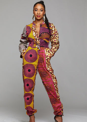 eniola african print button-up jumpsuit pink yellow patchwork