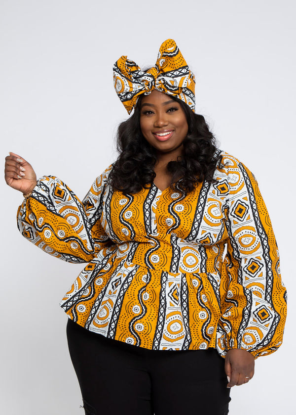 Omi African Print V-Neck Peplum Blouse (Gold White Mudcloth)