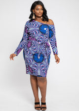 Furaha African Print Stretch Woven Off Shoulder Fitted Midi Dress (Purple Blue Flowers)