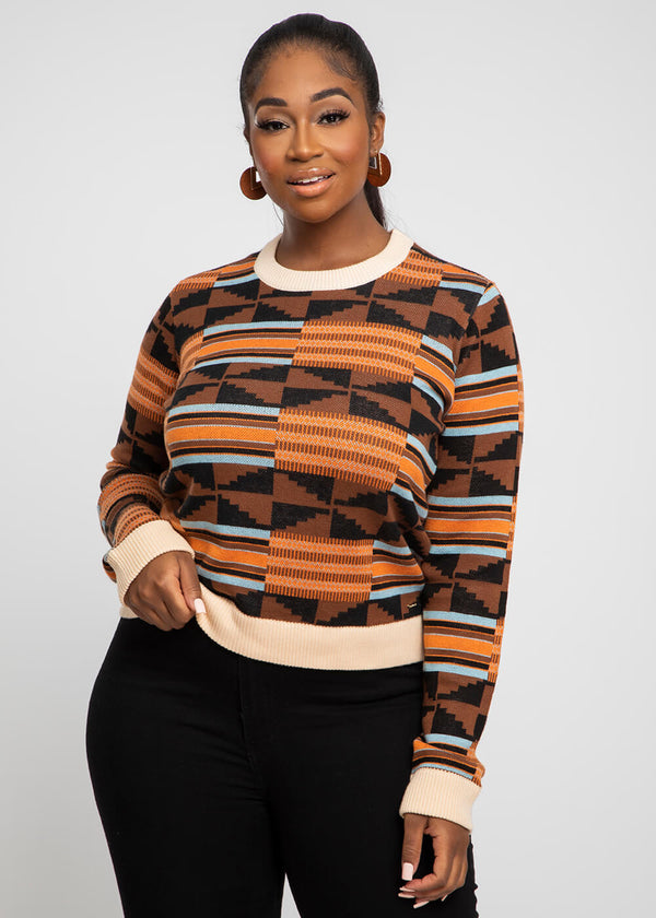 Abani African Print Intarsia Sweater (Brown Orange Kente)