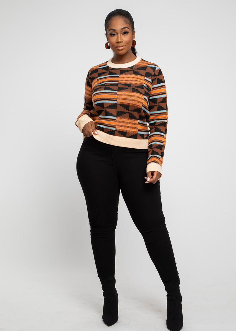 Abani African Print Intarsia Sweater (Brown Orange Kente) - Clearance