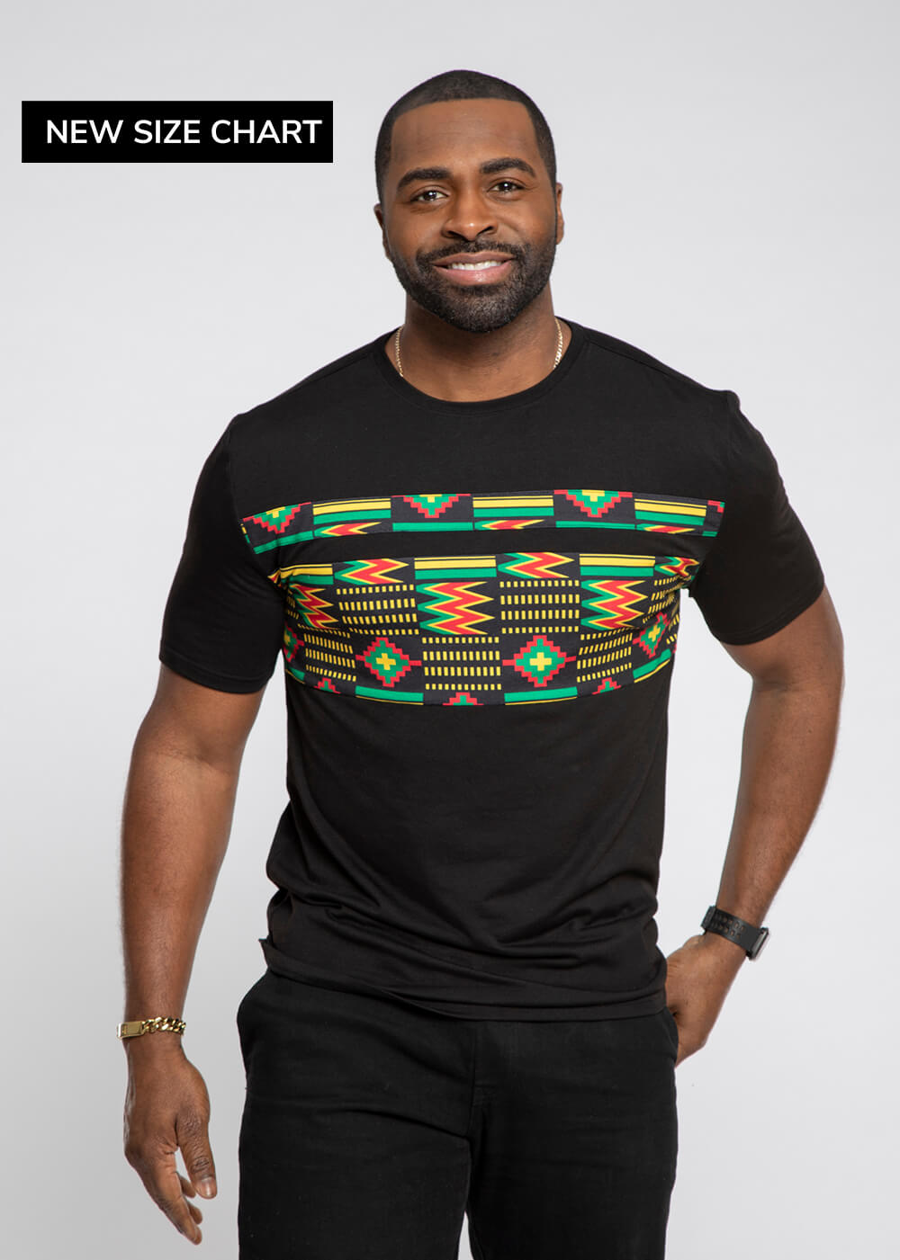Abio African Print Color Blocked T-shirt (Black/Black Green Kente)