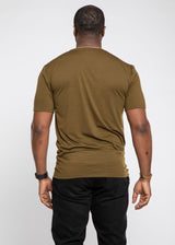 Abio African Print Color Blocked T-shirt (Olive Green/Black Green Kente)