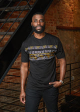 Abio African Print Men's Color Block Tee (Black/ Black Gold Mudcloth) - Clearance