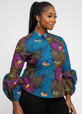Adaba African Print Mandarin Collar Button-Up (Blue Pink Peacock)