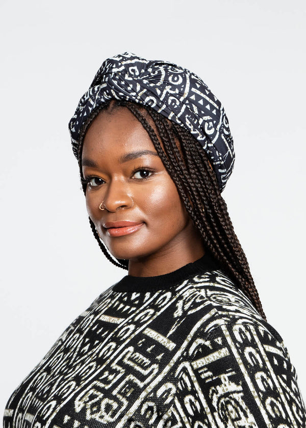 Ade African Print Rib Knit Head Wrap (Black White Tribal)