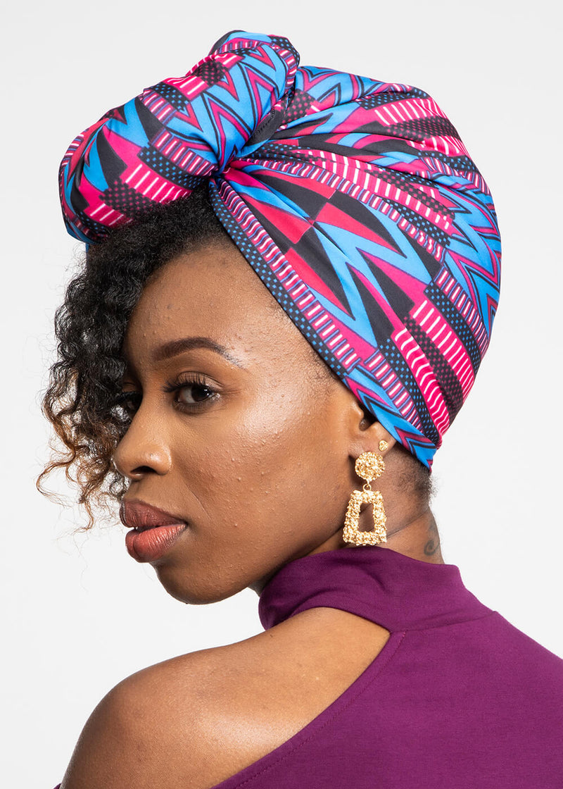 Ade African Print Knit Head Wrap (Magenta Blue Kente)