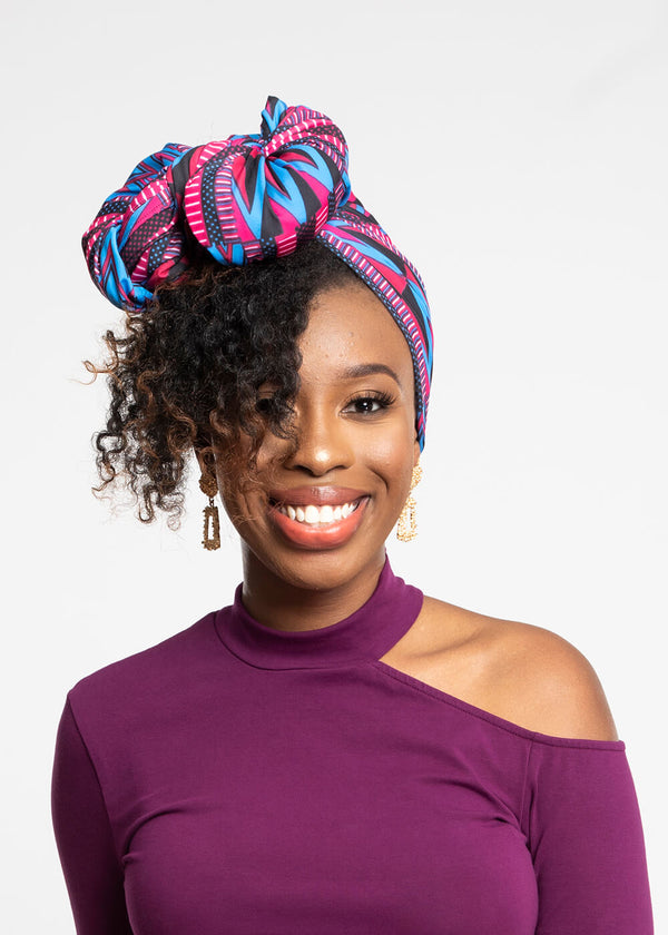 Ade African Print Rib Knit Head Wrap (Magenta Blue Kente)