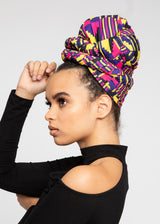 Ade African Print Knit Head Wrap (Pink Yellow Kente)