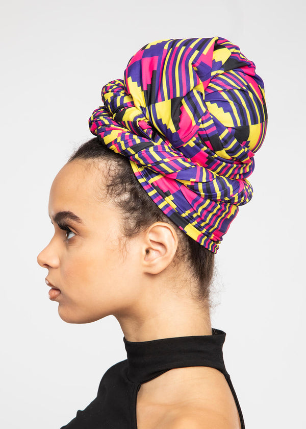 Ade African Print Rib Knit Head Wrap (Pink Yellow Kente)