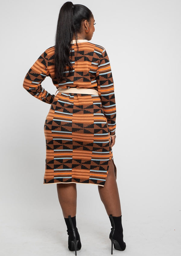 Afe African Print Button-Up Sweater Dress (Brown Orange Kente)