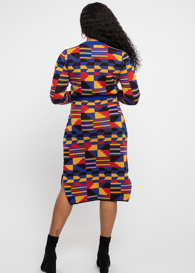 Afe African Print Button-Up Sweater Dress (Indigo Red Kente)