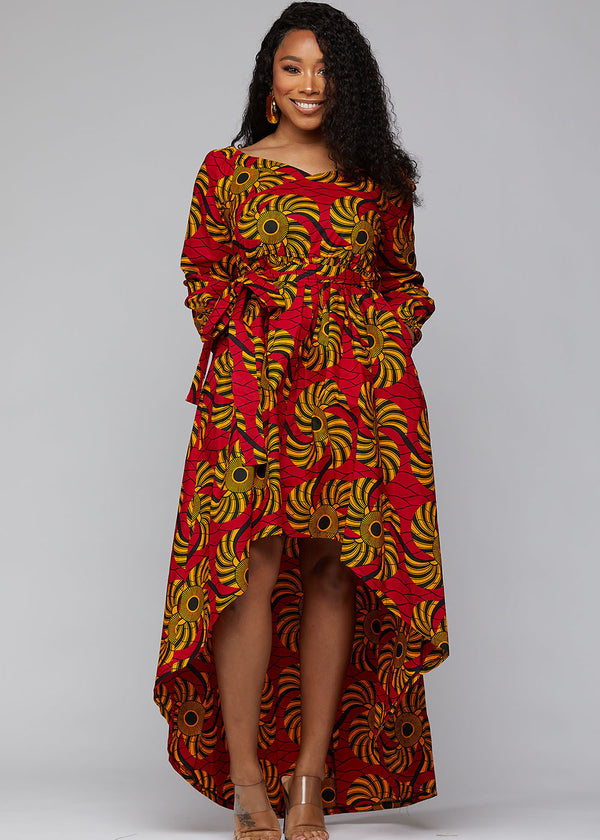 Afua African Print High-Low Off-Shoulder Maxi Dress (Yellow Red Swirls) - Clearance