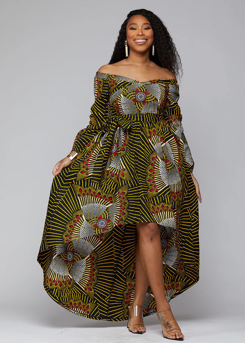 Afua African Print High-Low Off-Shoulder Maxi Dress (Yellow Red Fans) - Clearance