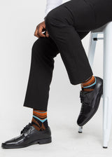 Akachi African Print Crew Socks (Brown Orange Kente)