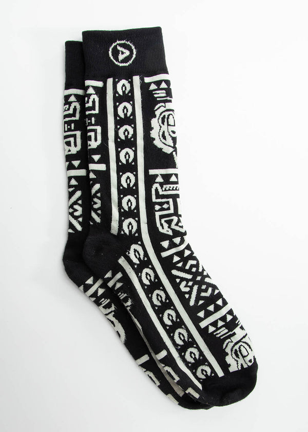 Akachi African Print Crew Socks (Black White Tribal)