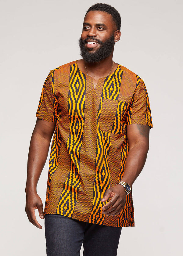 Alamini African Print Men's Tunic (Orange Navy Diamonds) - Clearance