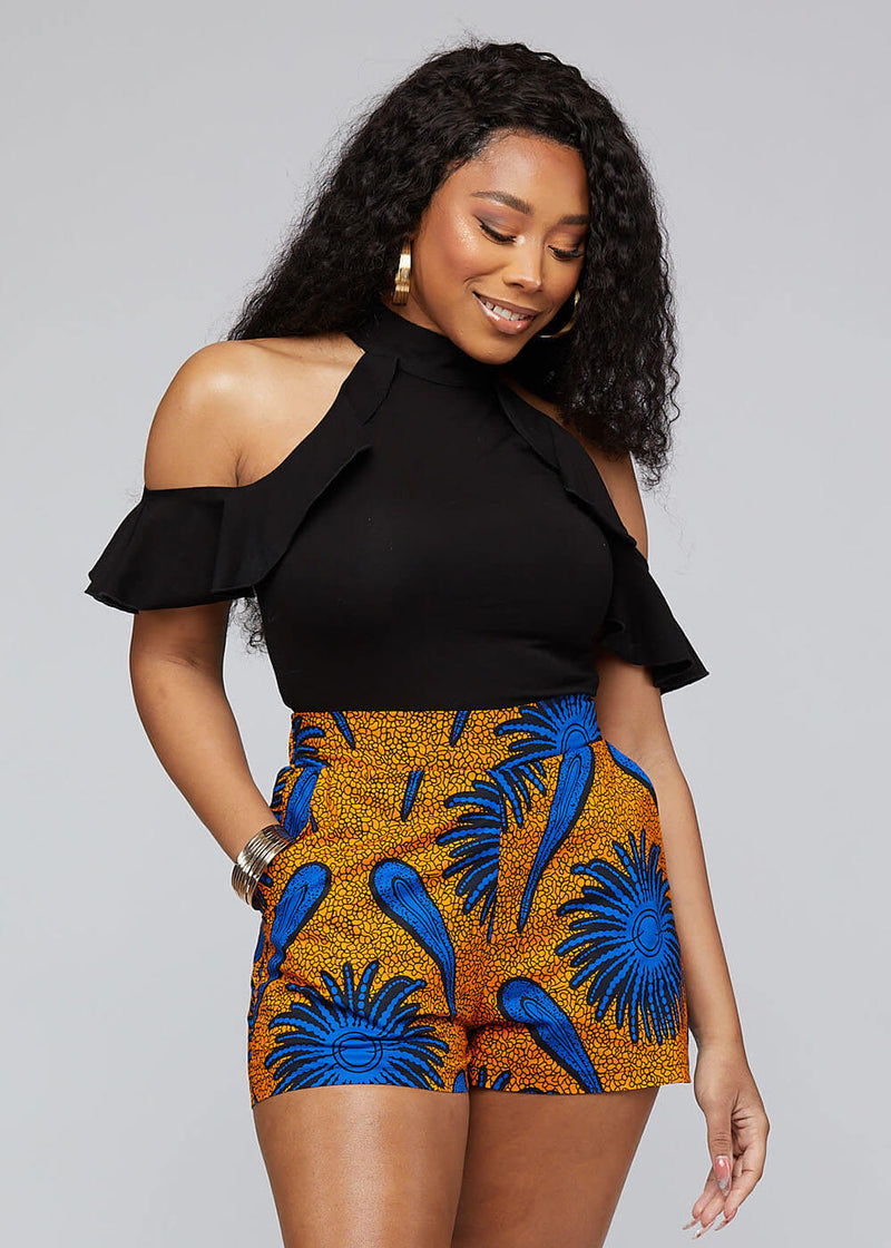 Almasi African Print High-waisted Shorts  (Gold Royal Blue Flowers) - Clearance