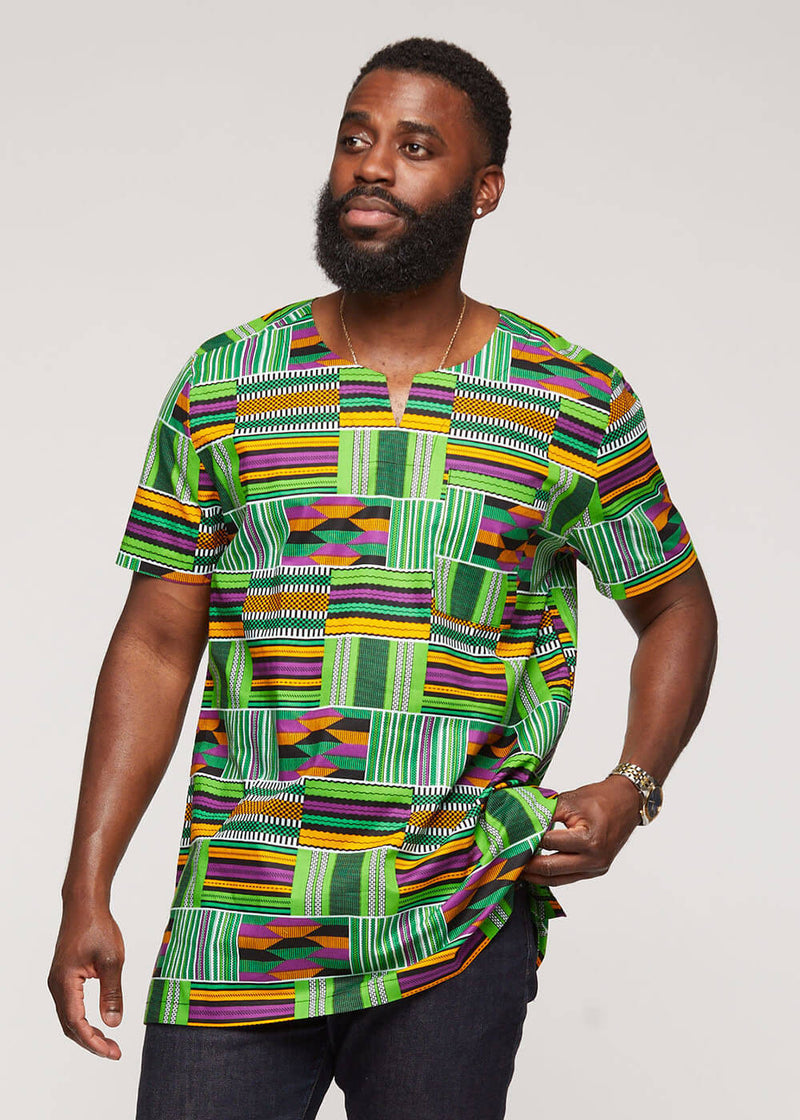 Alamini African Print Men's Tunic (Green Purple Kente) - Clearance