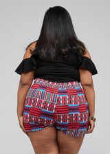 Almasi African Print High-waisted Shorts (Pink Blue Kente) - Clearance