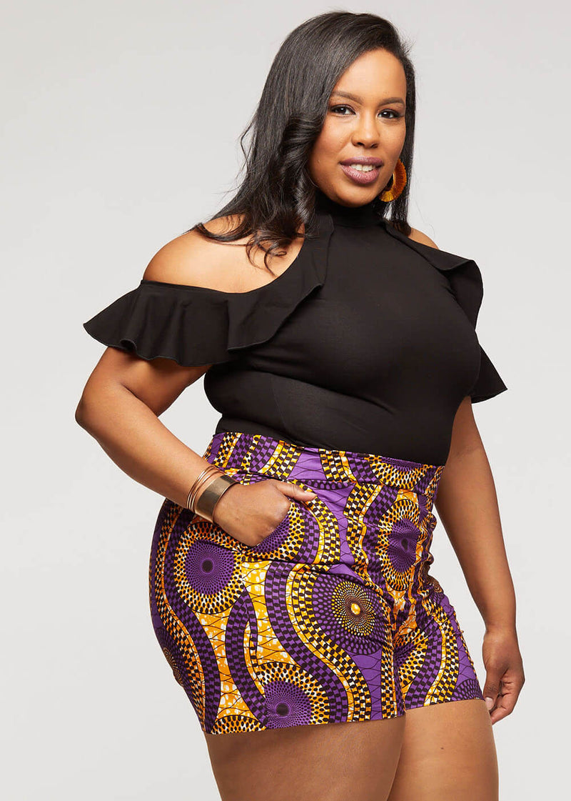 Almasi African Print High-Waisted Shorts (Gold Purple Circles) - Clearance