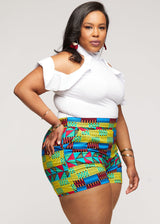 Almasi African Print High-Waisted Shorts  (Royal Blue Gold Kente) - Clearance