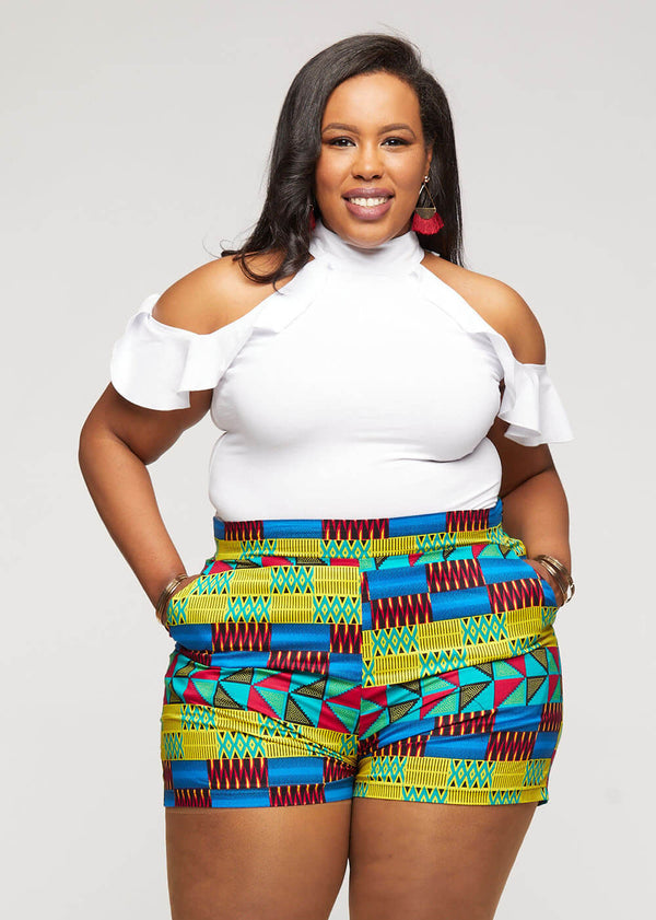 Almasi African Print High-Waisted Shorts  (Royal Blue Gold Kente)