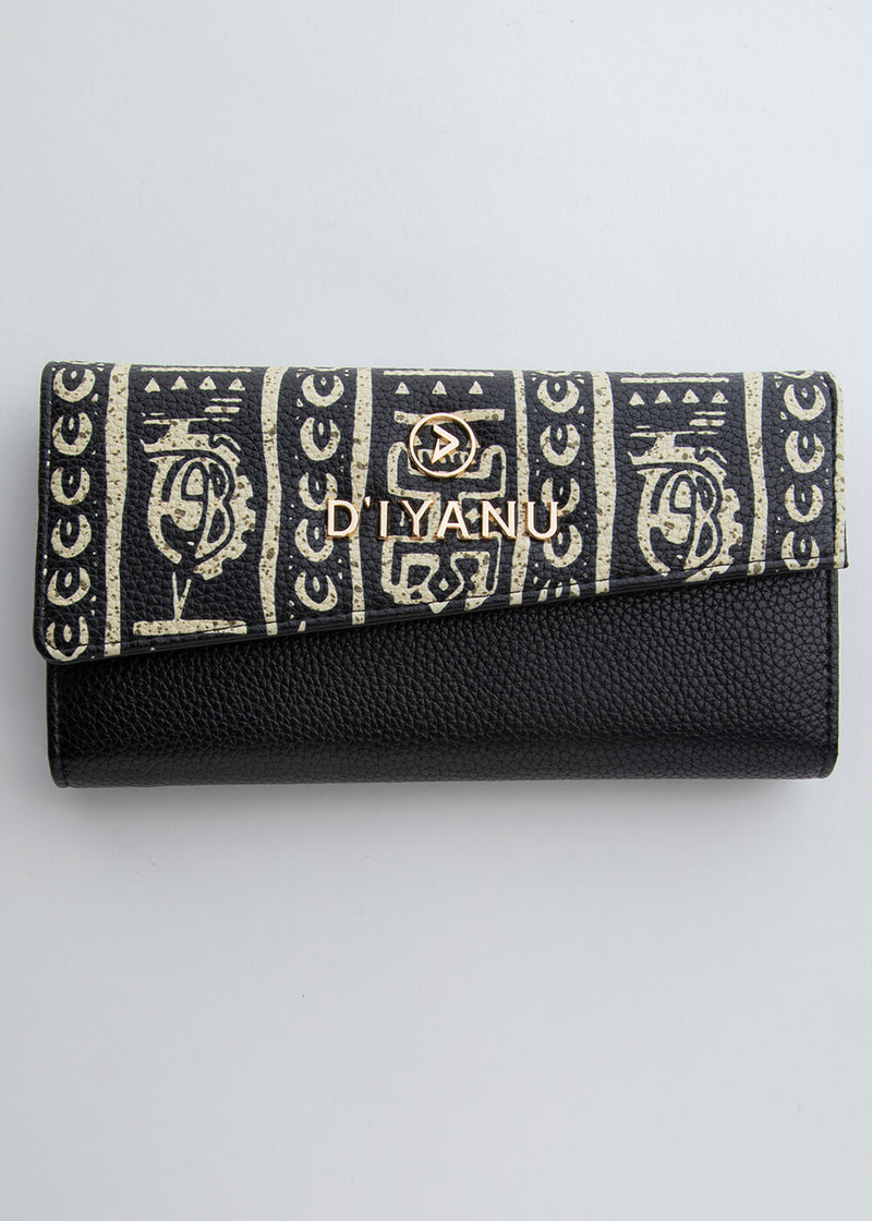 Amare African Print Women's Faux Leather Wallet (Black White Tribal)