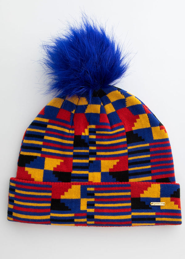 Amira African Print Knit Hat with Faux Fur Puff Ball (Indigo Red Kente)
