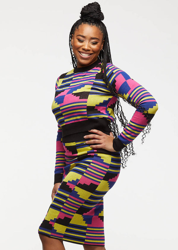 Ara African Print Cropped Sweater (Pink Yellow Kente)
