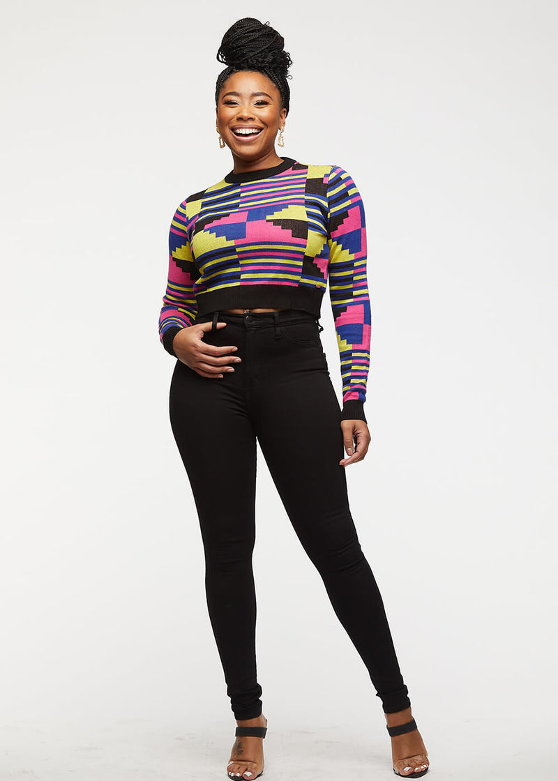 Ara African Print Cropped Sweater (Pink Yellow Kente) - Clearance
