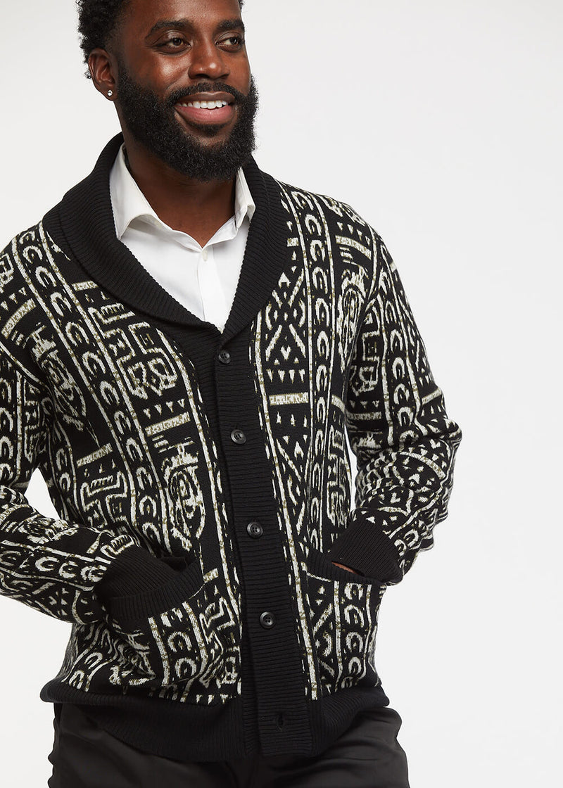 Aren African Print Button-Up Cardigan Sweater (Black/Black White Tribal) - Clearance