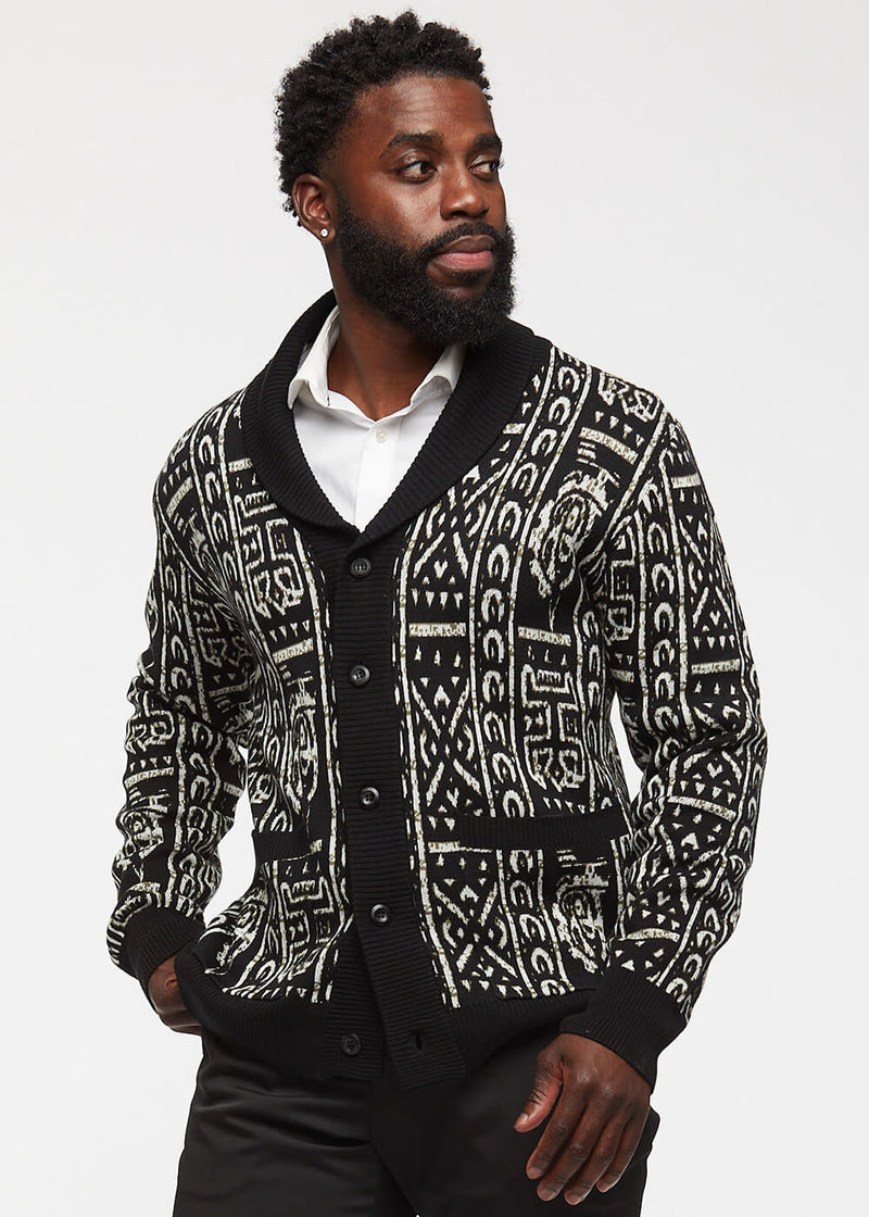 Aren African Print Button-Up Cardigan Sweater (Black/Black White Tribal)
