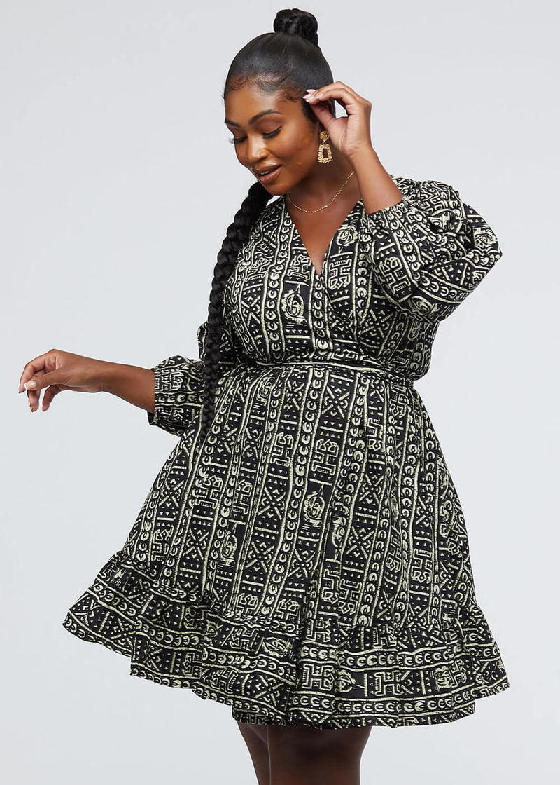 Aria African Print Midi Wrap Dress (Black White Tribal)