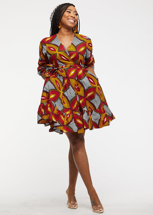 Aria African Print Midi Wrap Dress (Red Gold Leaves) - Clearance