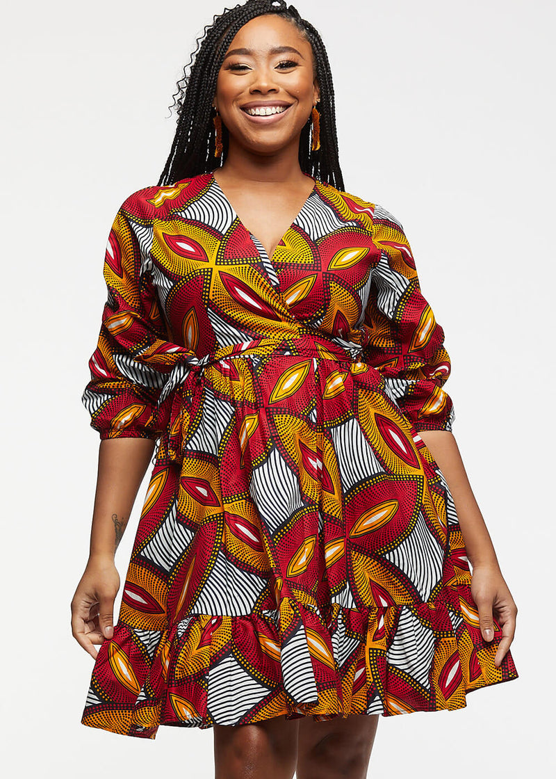 Aria African Print Midi Wrap Dress (Red Gold Leaves)