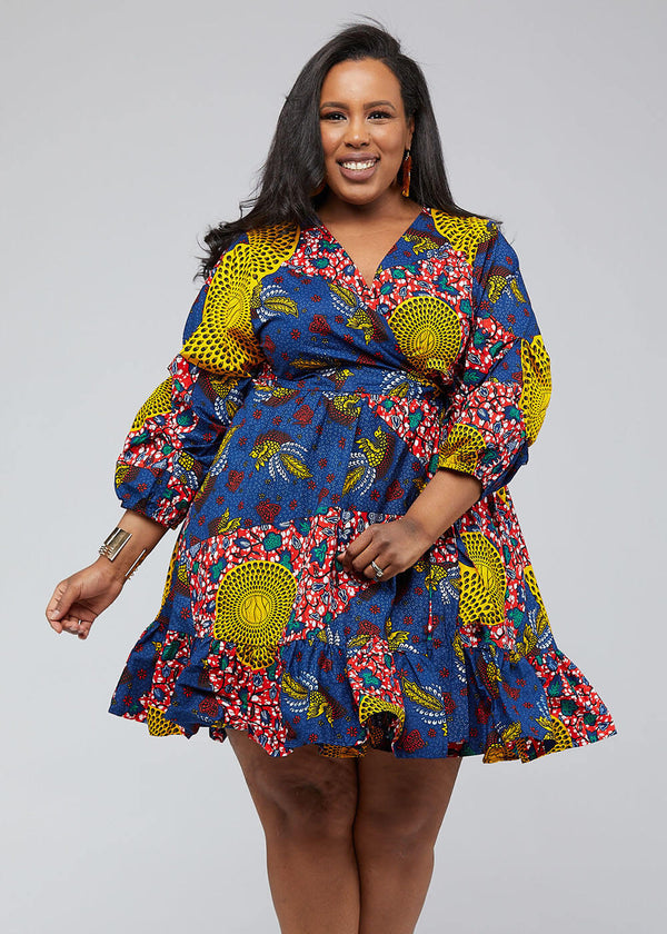 Aria African Print Midi Wrap Dress (Yellow Navy Multipattern) - Clearance