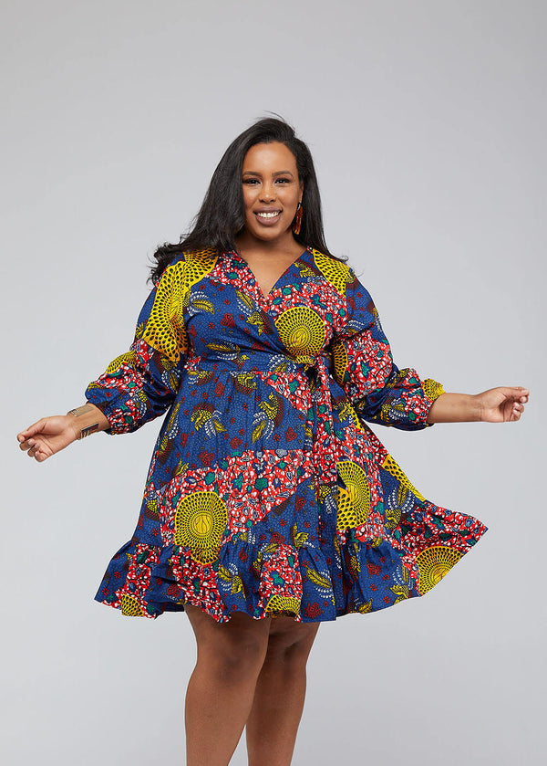 Aria African Print Midi Wrap Dress (Yellow Navy Multipattern)