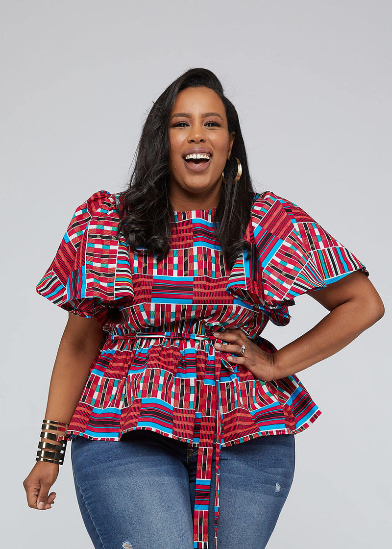 Ayani Peplum Top with Butterfly Sleeve and Tie (Pink Blue Kente)