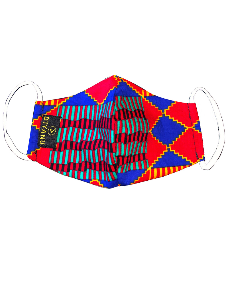 Shaka African Print 3 Layer Reusable Face Mask (BLUE RED KENTE)- Clearance