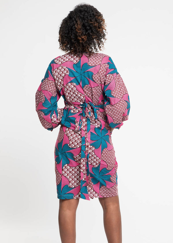 Bisi African Print Puff Sleeve Midi Wrap Dress (Pink Teal Pinwheels)
