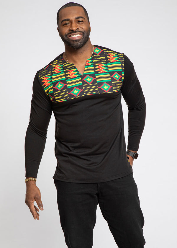 Bomani African Print Color Blocked V-neck T-shirt (Black/Black Green Kente)