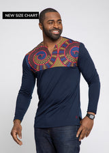 Bomani African Print Color Blocked V-neck T-shirt (Navy/Gold Blue Tribal)